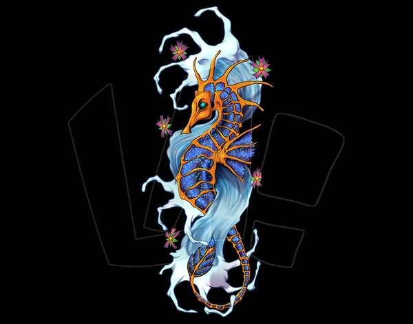 Angry blue-and-orange asian seahorse on wave and cherry blossom background tattoo design