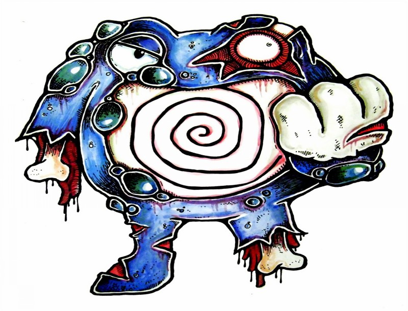Angry blue zombie pokemon tattoo design