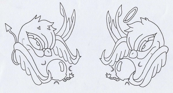 Angry cartoon outline sparrows tattoo design