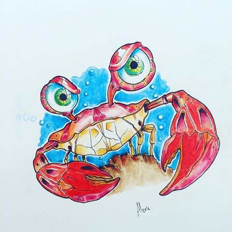 Angry cartoon red crab on blue sky background tattoo design