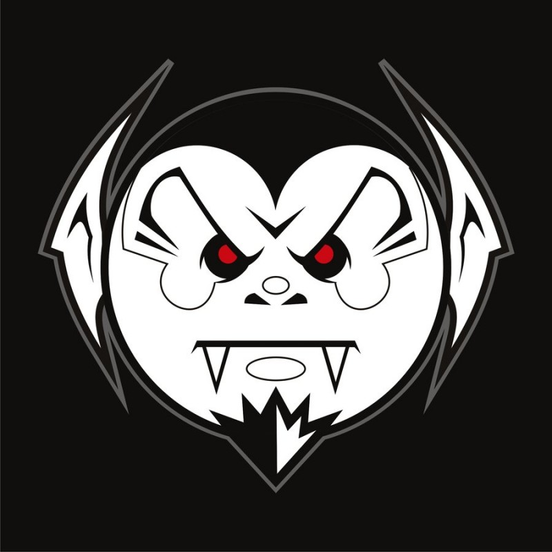 Angry cartoon vampire face tattoo design by Burning Eyestudios