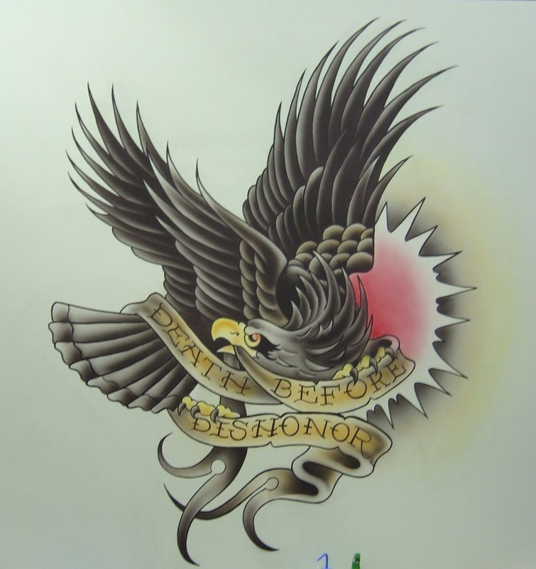 Angry colorful eagle with a banner in beak tattoo design