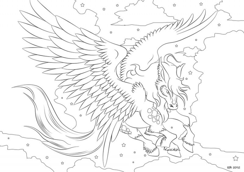 angry colorless pegasus tattoo designdarkly shaded