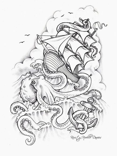 Angry colorless water animal drowning a ship tattoo design