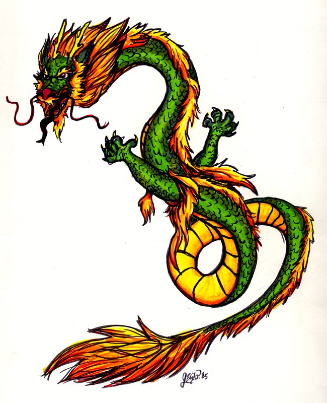 Angry green-and-yellow chinese dragon tattoo design by Davenevanxaviour
