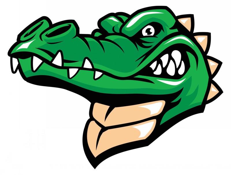Angry green cartoon reptile portrait tattoo design