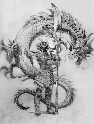 Angry grey-ink chinese dragon and armored warrior tattoo design