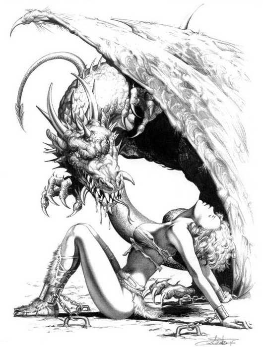 Angry grey-ink dragon and sexy girl tattoo design