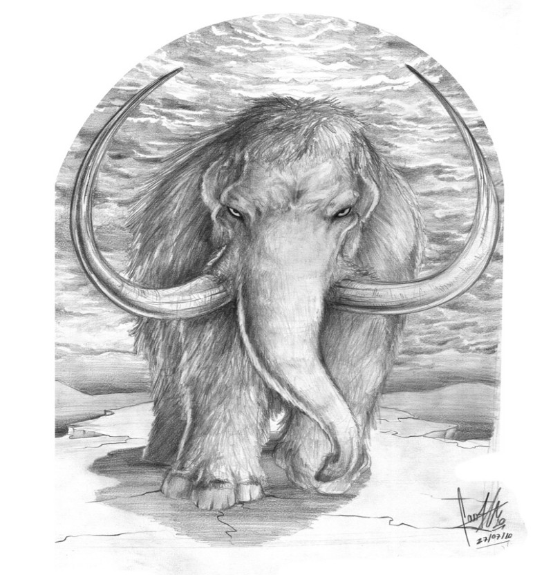 Angry grey-ink mammoth in full growth rushing forward tattoo design