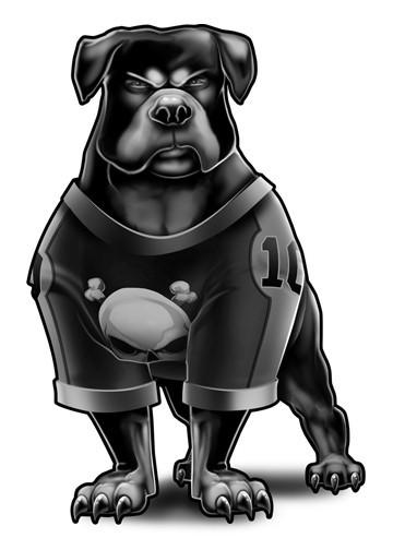 Angry grey cartoon rottweiler in football T-shirt tattoo design