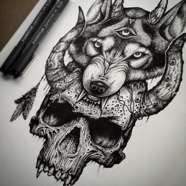 5009b0766 Angry illuminati wolf head with a skull tattoo design - Tattooimages.biz