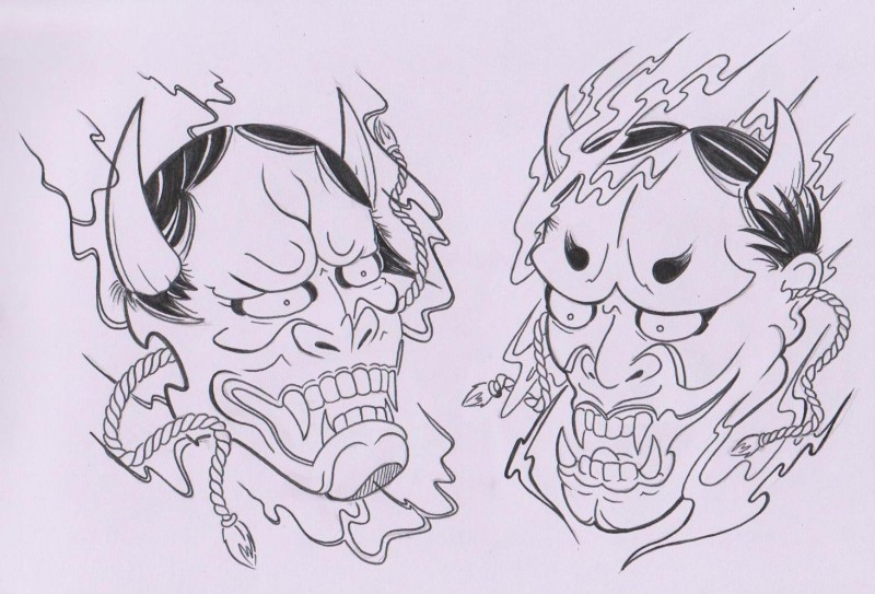 Angry lineart devil head keeping ropes in mouthes tattoo design