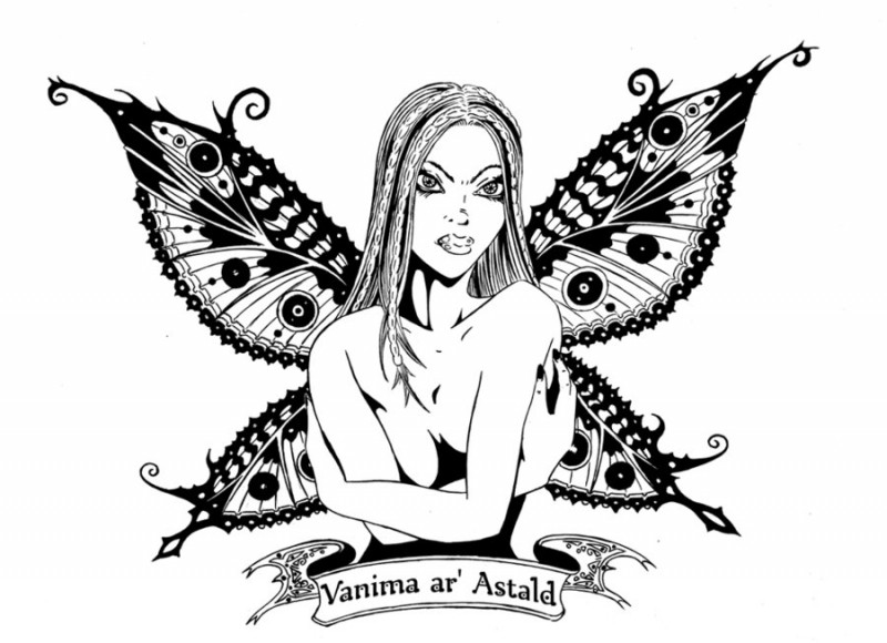 Angry naked fairy with crossed hands and a banner tattoo design by Lordinator