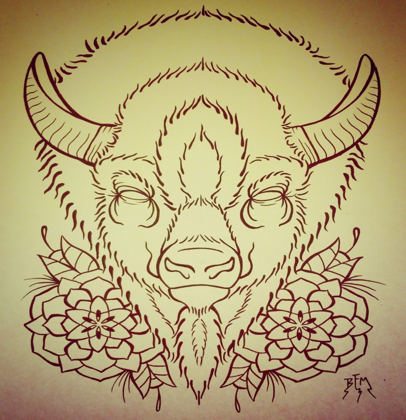Angry outline bull portrait with flowers tattoo design