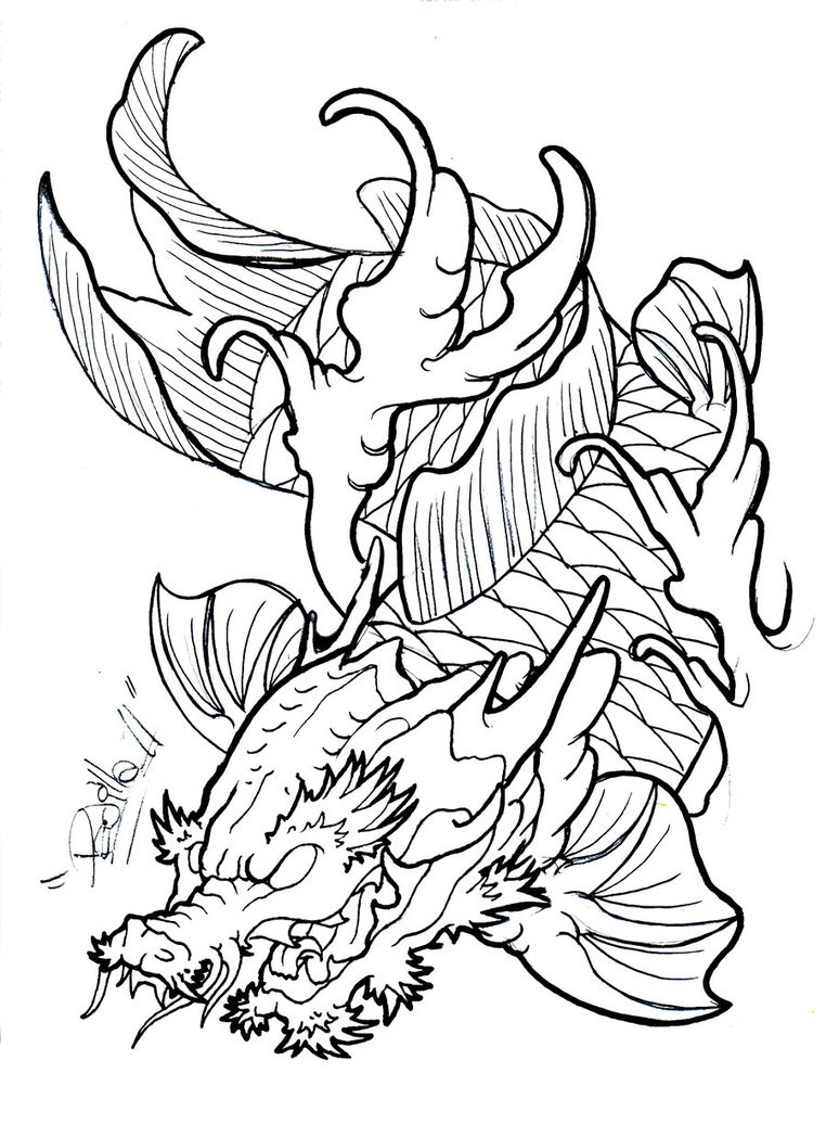 angry outline koi fish dragon tattoo design by eltri. Black Bedroom Furniture Sets. Home Design Ideas