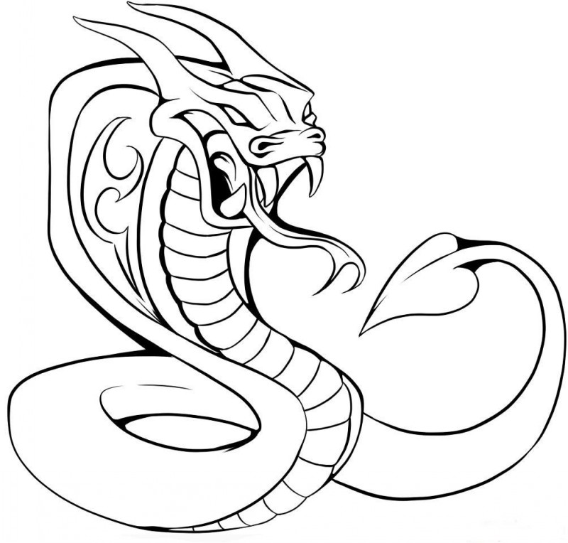 Angry outline reptile in cartoon style tattoo design