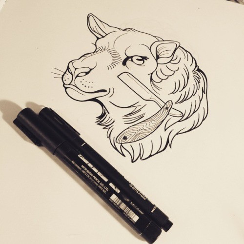 Angry outline sheep head with shaver tattoo design