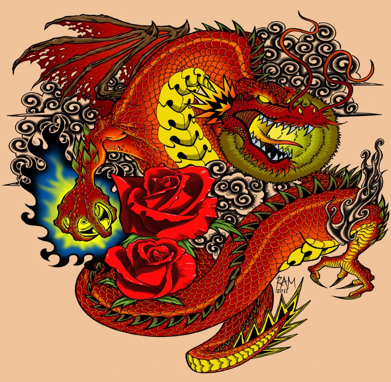 Angry red dragon with yellow belly and roses on curly smoke background tattoo design