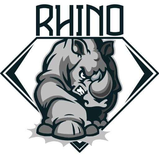 Angry rhino logo with lettering tattoo design