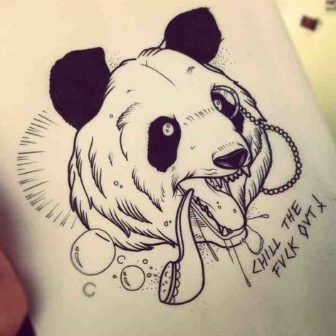 Angry screaming panda with pipe in monocle tattoo design