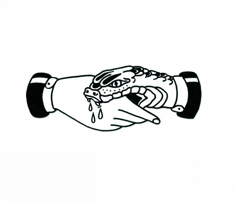 Angry snake biting a human hand tattoo design