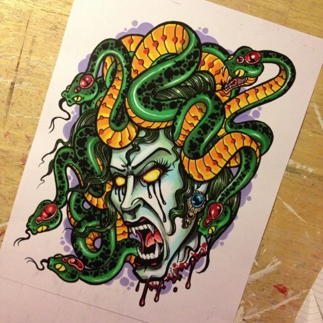 Angry traditional colorful screaming medusa gorgona head tattoo design