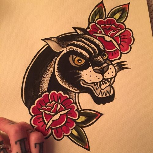 Angry traditional panther with roses tattoo design