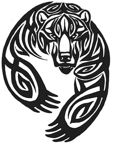 Angry tribal grizzly bear with paws tattoo design