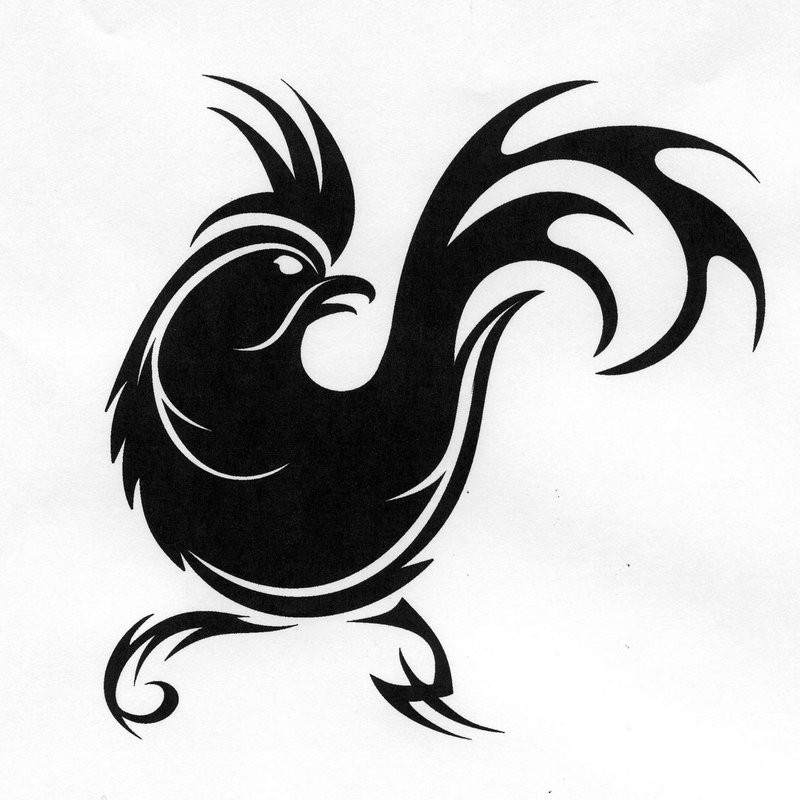 Angry tribal rooster silhouette tattoo design