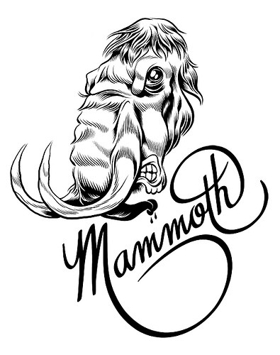 Angry uncolored mammoth head with quote tattoo design