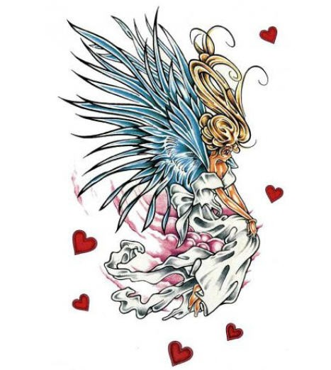 Animated angel girl in white dress with blue wings among red hearts tattoo design