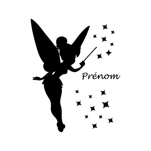 Animated black-ink fairy silhouette with a quote tattoo design