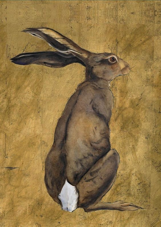Animated brown dreaming hare turn its back tattoo design