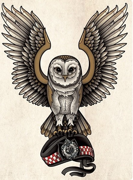 Animated brown flying owl keeping a cap tattoo design