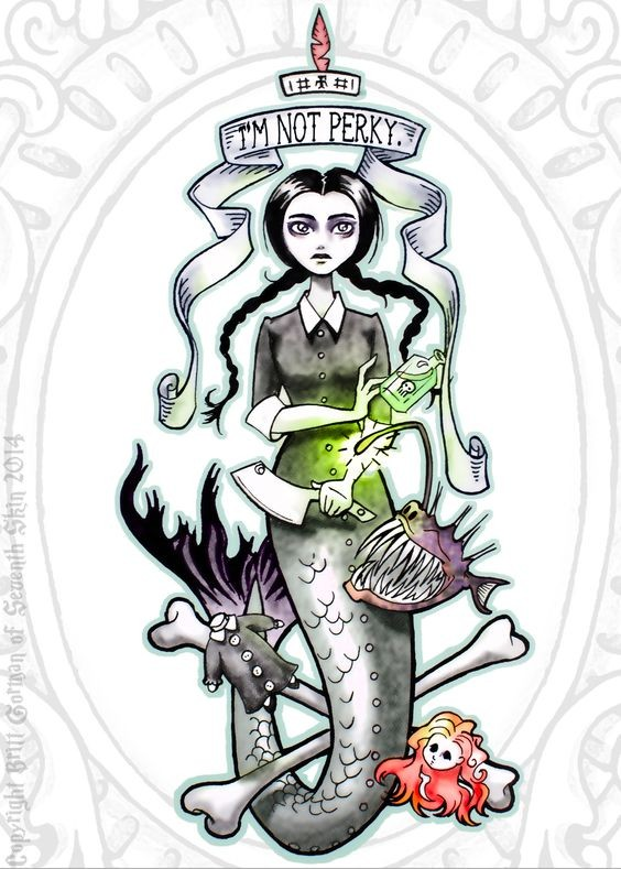 Animated colored Addams mermaid with scary details tattoo design