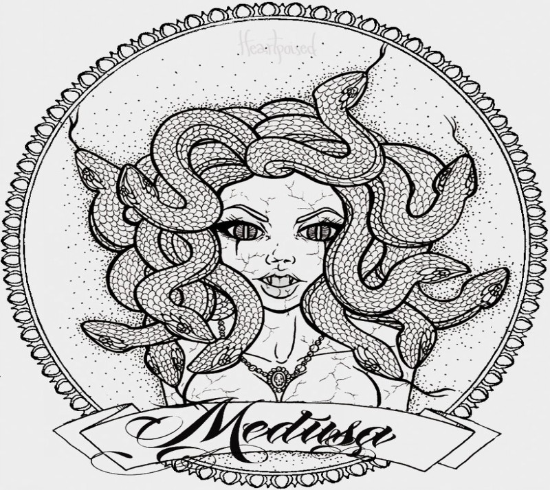 Animated cracked medusa gorgona in a frame with a banner tattoo design by Heart Poised