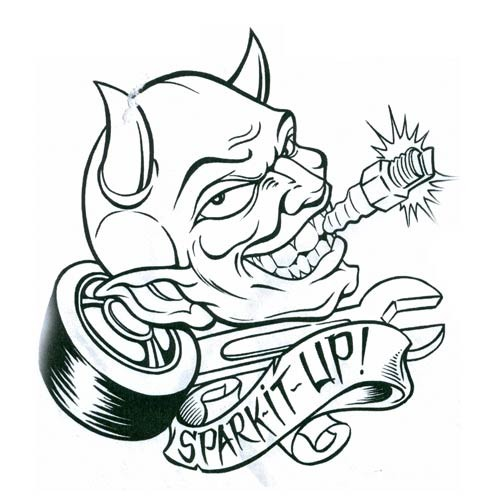Animated devil head with a screw in teeth and a banner tattoo design