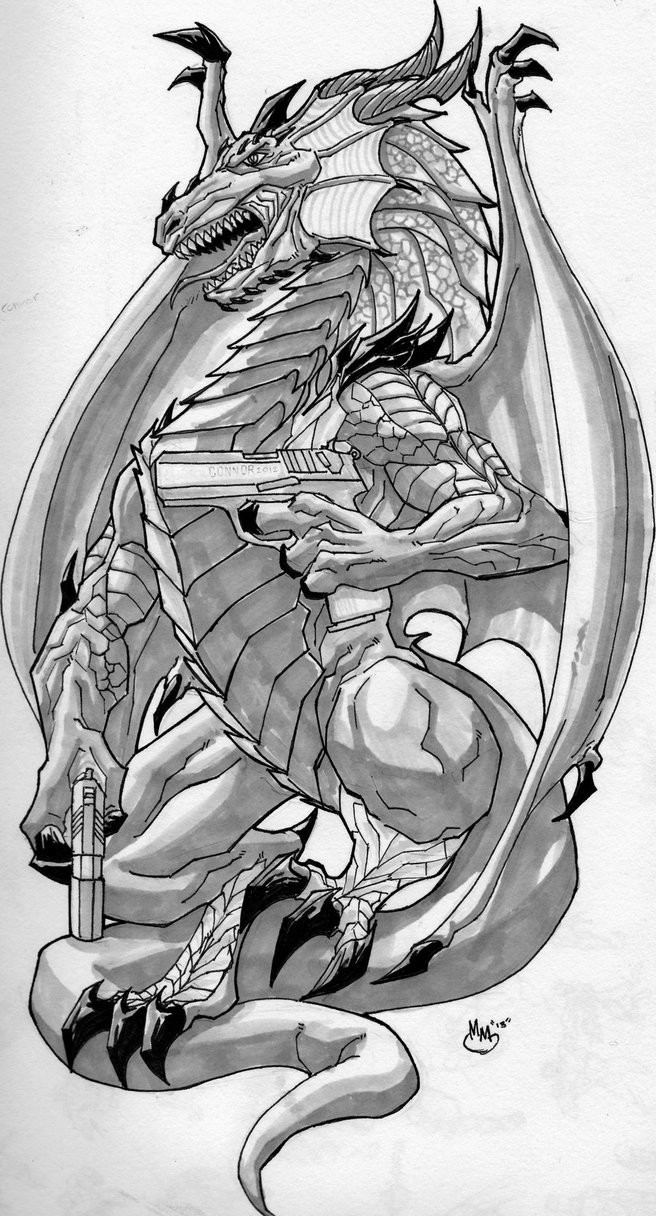 Animated dragon killer with guns tattoo design by Bluboiart