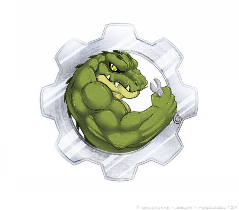 Animated muscular reptile with spanner in cogwheel frame tattoo design by Gravemind1110