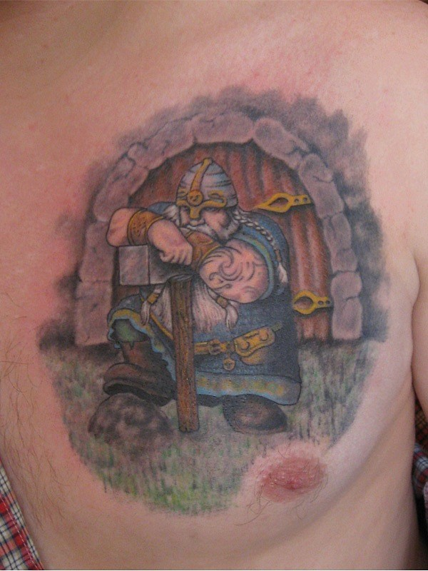 Animated old Viking warrior-guarder with axe tattoo on chest