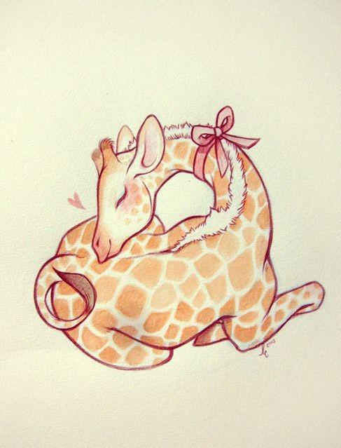 Animated orange giraffe with pink bow curled in sleeping tattoo design
