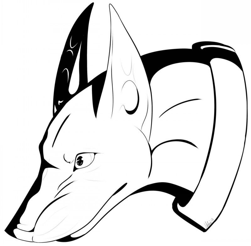 Animated outline doberman head tattoo design