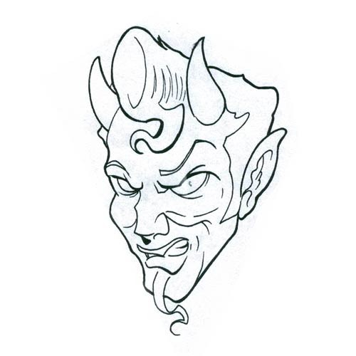 Animated outline male devil with a thin beard tattoo design