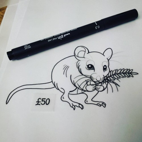Animated outline mouse keeping herbal branch tattoo design