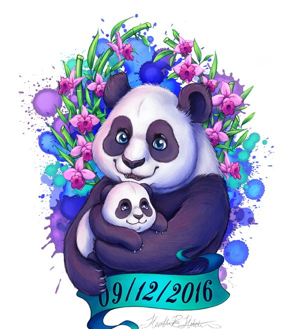 Animated panda family with banner and flowers tattoo design