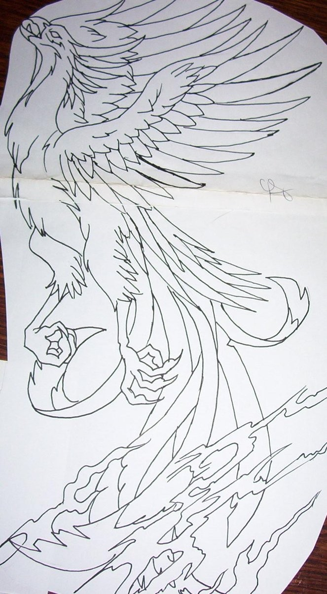 Animated phoenix bird without coloring tattoo design by Tattoosuzette