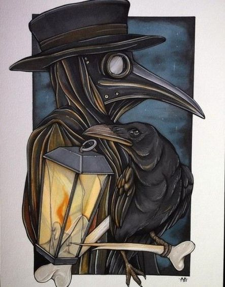 Animated plague doctor with shining lamp and raven tattoo design