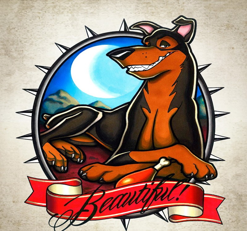 Animated pleased doberman in frame with red banner tattoo design by Katya Kabum