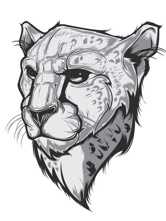 Animated serious grey-ink cheetah portrait tattoo design
