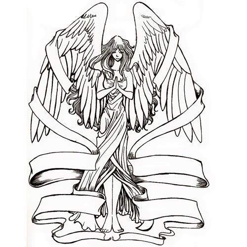 Animated uncolored angel girl with a lot of ribbons tattoo design